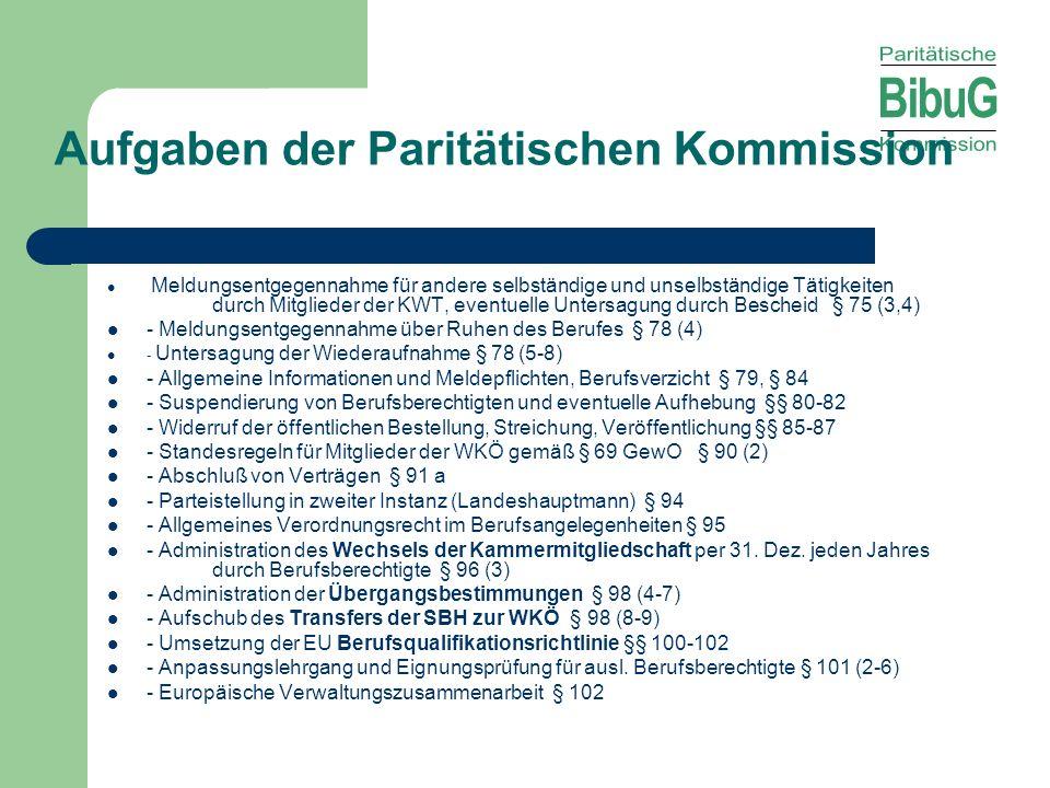 Aufgaben der Paritätischen Kommission Meldungsentgegennahme für andere selbständige und unselbständige Tätigkeiten durch Mitglieder der KWT, eventuell