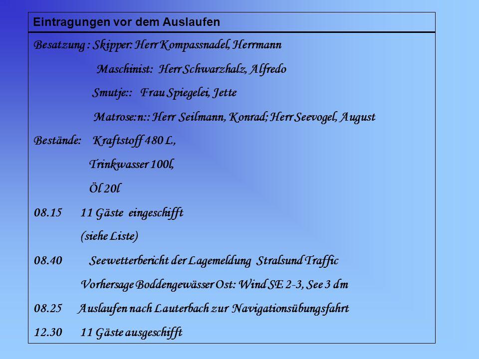 Eintragungen vor dem Auslaufen Besatzung : Skipper: Herr Kompassnadel, Herrmann Maschinist: Herr Schwarzhalz, Alfredo Smutje:: Frau Spiegelei, Jette M