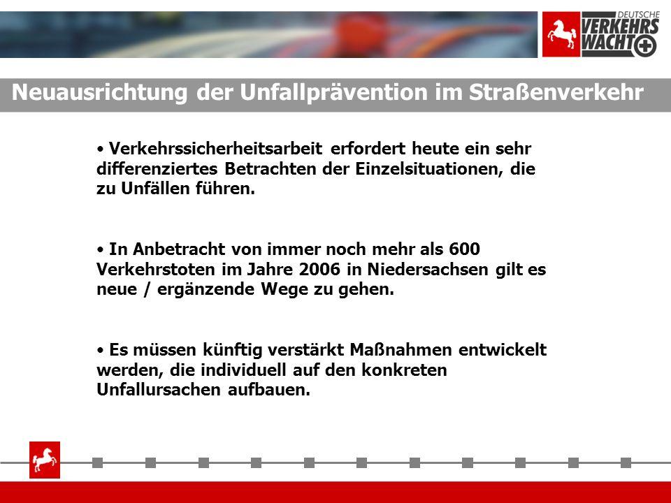 Neuausrichtung der Unfallprävention im Straßenverkehr Verkehrssicherheitsarbeit erfordert heute ein sehr differenziertes Betrachten der Einzelsituatio