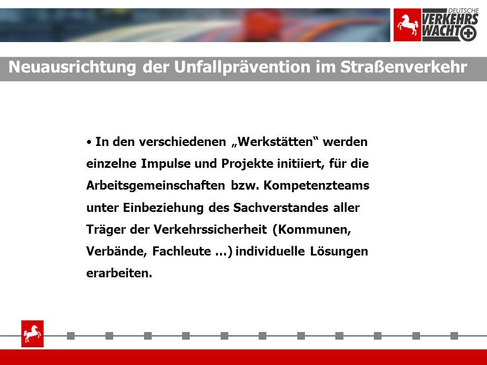Neuausrichtung der Unfallprävention im Straßenverkehr In den verschiedenen Werkstätten werden einzelne Impulse und Projekte initiiert, für die Arbeits
