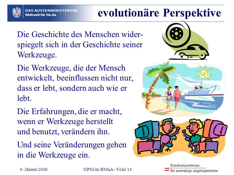 9. Jänner 2006NPM im BMaA - Folie 14 Die Geschichte des Menschen wider- spiegelt sich in der Geschichte seiner Werkzeuge. Die Werkzeuge, die der Mensc