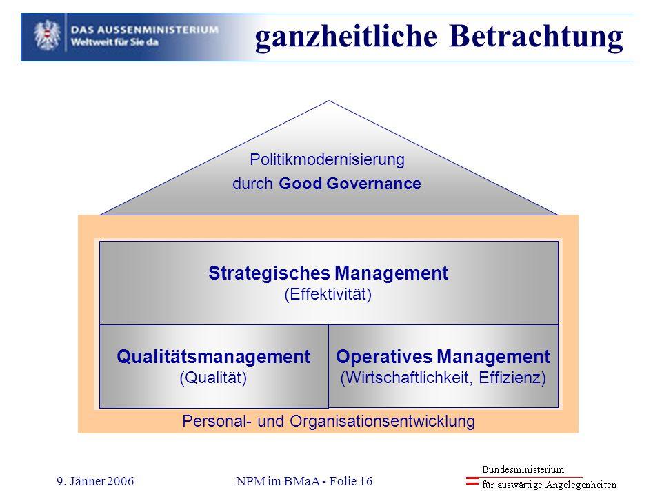 9. Jänner 2006NPM im BMaA - Folie 16 Personal- und Organisationsentwicklung - Management-Grundausbildung - Führungskräfte-Qualifizierung - neue Organi