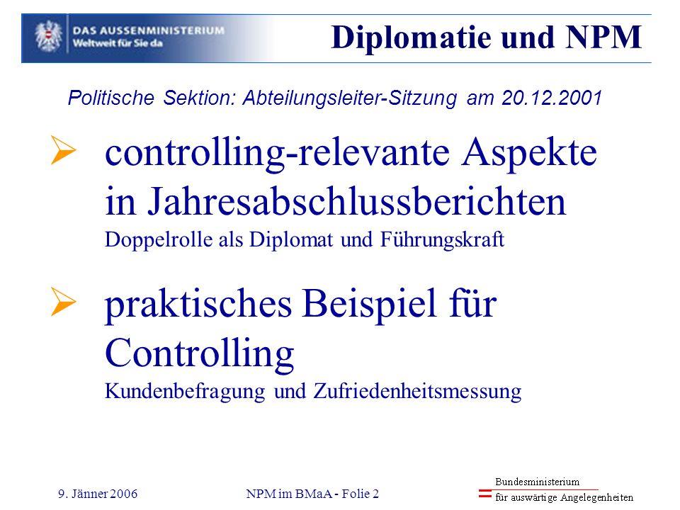 9. Jänner 2006NPM im BMaA - Folie 2 controlling-relevante Aspekte in Jahresabschlussberichten Doppelrolle als Diplomat und Führungskraft praktisches B