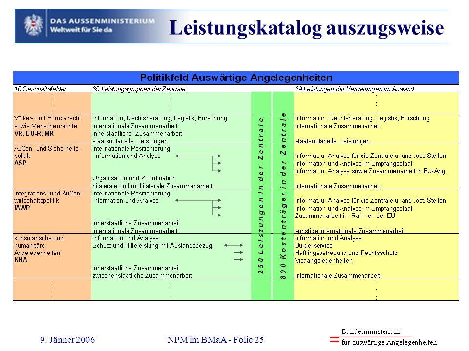 9. Jänner 2006NPM im BMaA - Folie 25 Leistungskatalog auszugsweise