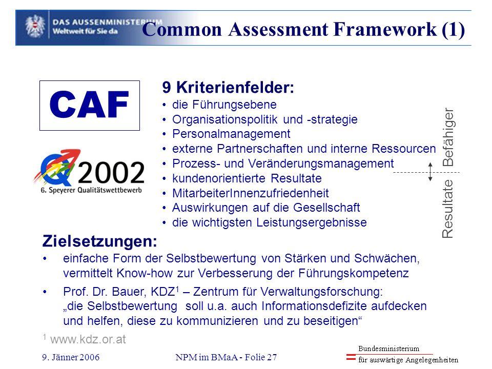 9. Jänner 2006NPM im BMaA - Folie 27 9 Kriterienfelder: die Führungsebene Organisationspolitik und -strategie Personalmanagement externe Partnerschaft