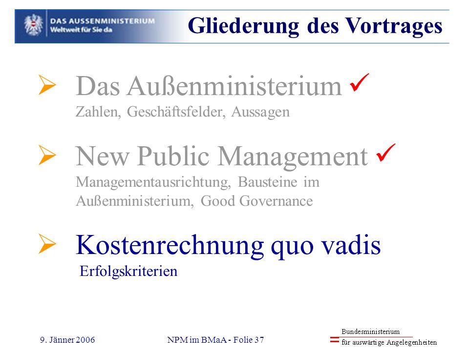 9. Jänner 2006NPM im BMaA - Folie 37 Das Außenministerium Zahlen, Geschäftsfelder, Aussagen New Public Management Managementausrichtung, Bausteine im