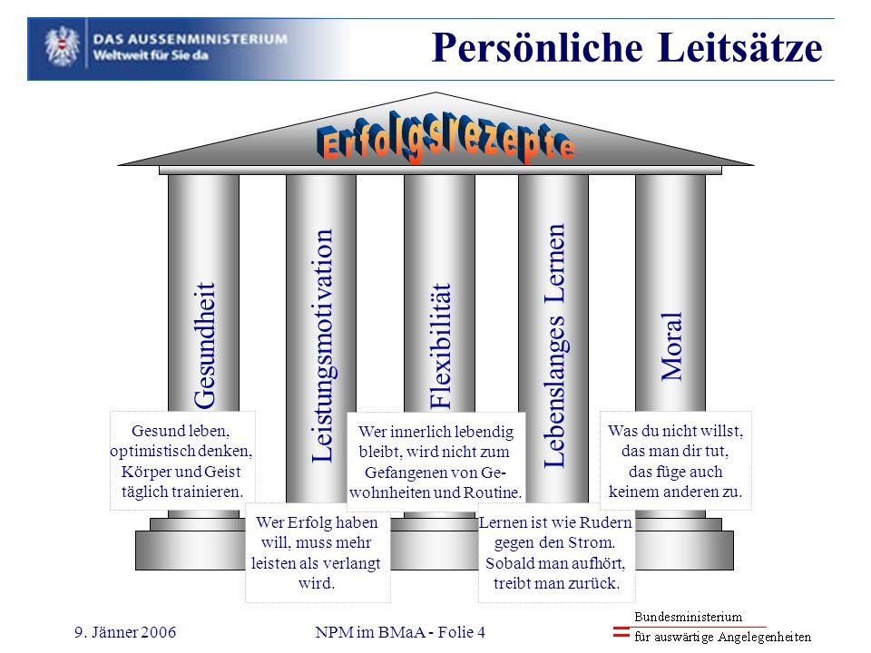 9. Jänner 2006NPM im BMaA - Folie 4 Persönliche Leitsätze GesundheitLeistungsmotivationFlexibilitätLebenslanges LernenMoral Gesund leben, optimistisch