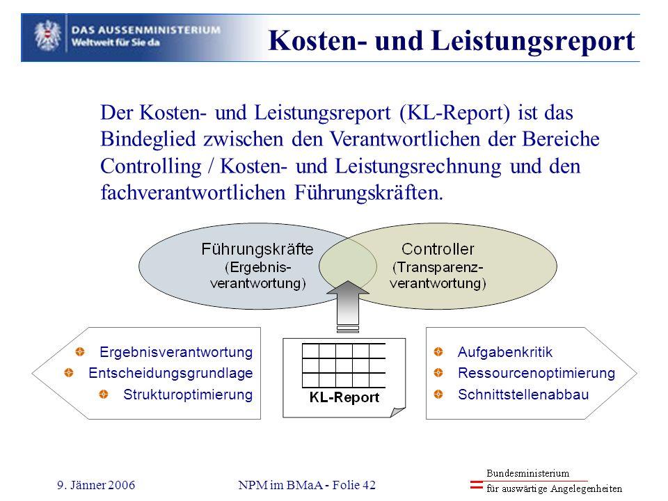9. Jänner 2006NPM im BMaA - Folie 42 Der Kosten- und Leistungsreport (KL-Report) ist das Bindeglied zwischen den Verantwortlichen der Bereiche Control