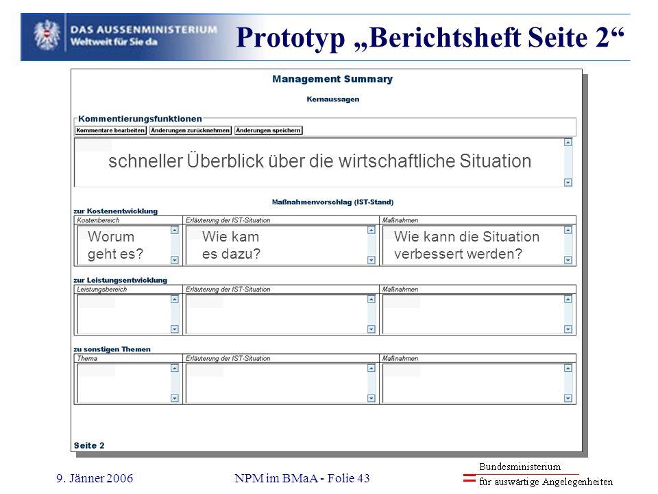 9. Jänner 2006NPM im BMaA - Folie 43 Prototyp Berichtsheft Seite 2 schneller Überblick über die wirtschaftliche Situation Worum geht es? Wie kam es da