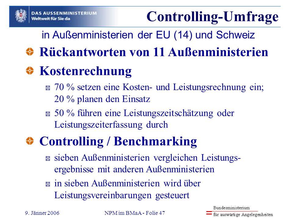 9. Jänner 2006NPM im BMaA - Folie 47 Controlling-Umfrage in Außenministerien der EU (14) und Schweiz Rückantworten von 11 Außenministerien Kostenrechn