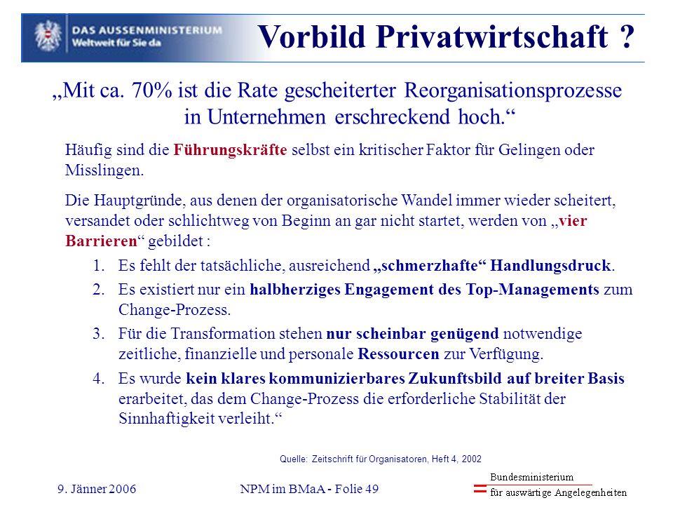 9. Jänner 2006NPM im BMaA - Folie 49 Mit ca. 70% ist die Rate gescheiterter Reorganisationsprozesse in Unternehmen erschreckend hoch. Häufig sind die