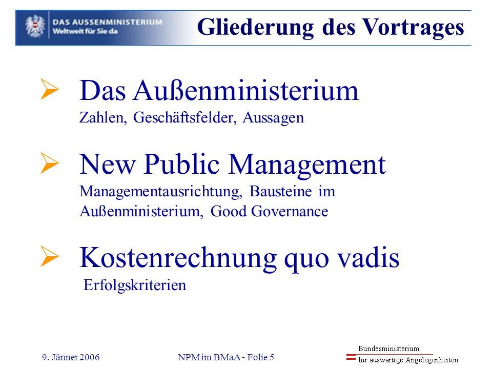 9. Jänner 2006NPM im BMaA - Folie 5 Das Außenministerium Zahlen, Geschäftsfelder, Aussagen New Public Management Managementausrichtung, Bausteine im A