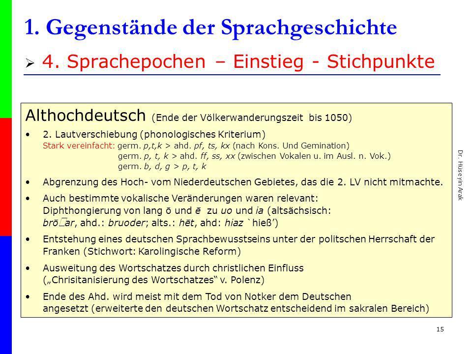 Dr. Hüseyin Arak 15 1. Gegenstände der Sprachgeschichte 4. Sprachepochen – Einstieg - Stichpunkte Althochdeutsch (Ende der Völkerwanderungszeit bis 10
