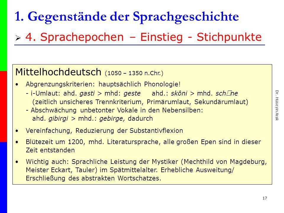 Dr. Hüseyin Arak 17 1. Gegenstände der Sprachgeschichte 4. Sprachepochen – Einstieg - Stichpunkte Mittelhochdeutsch (1050 – 1350 n.Chr.) Abgrenzungskr