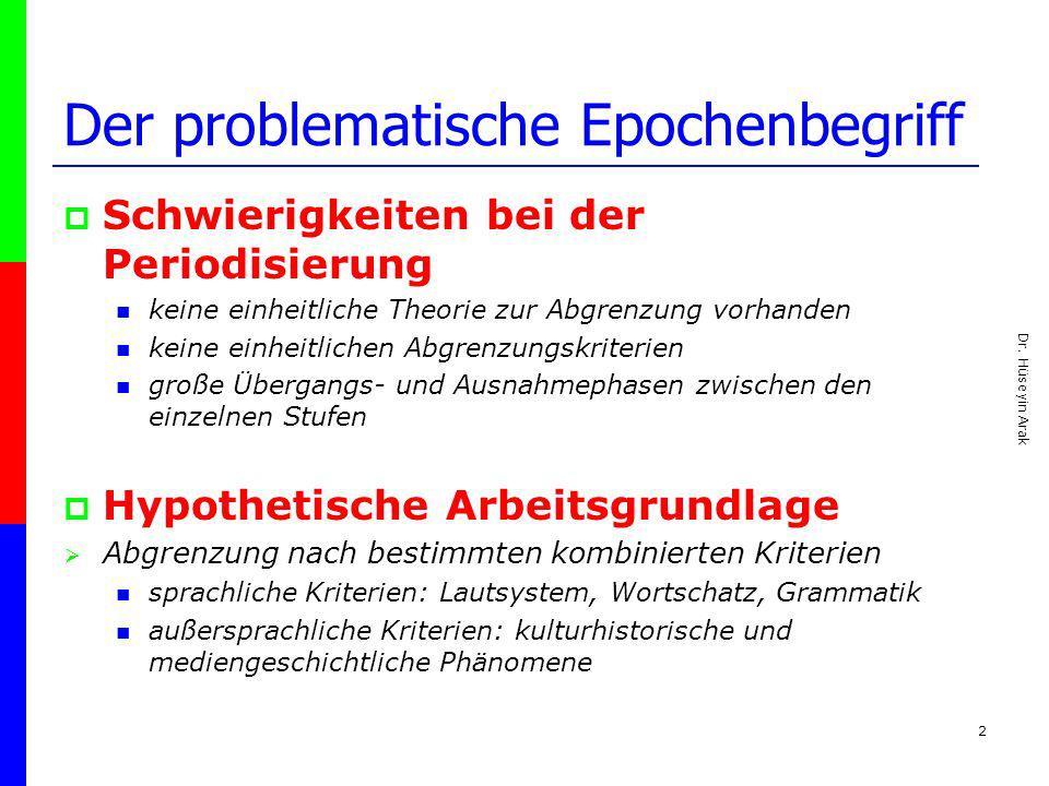 Dr. Hüseyin Arak 2 Der problematische Epochenbegriff Schwierigkeiten bei der Periodisierung keine einheitliche Theorie zur Abgrenzung vorhanden keine