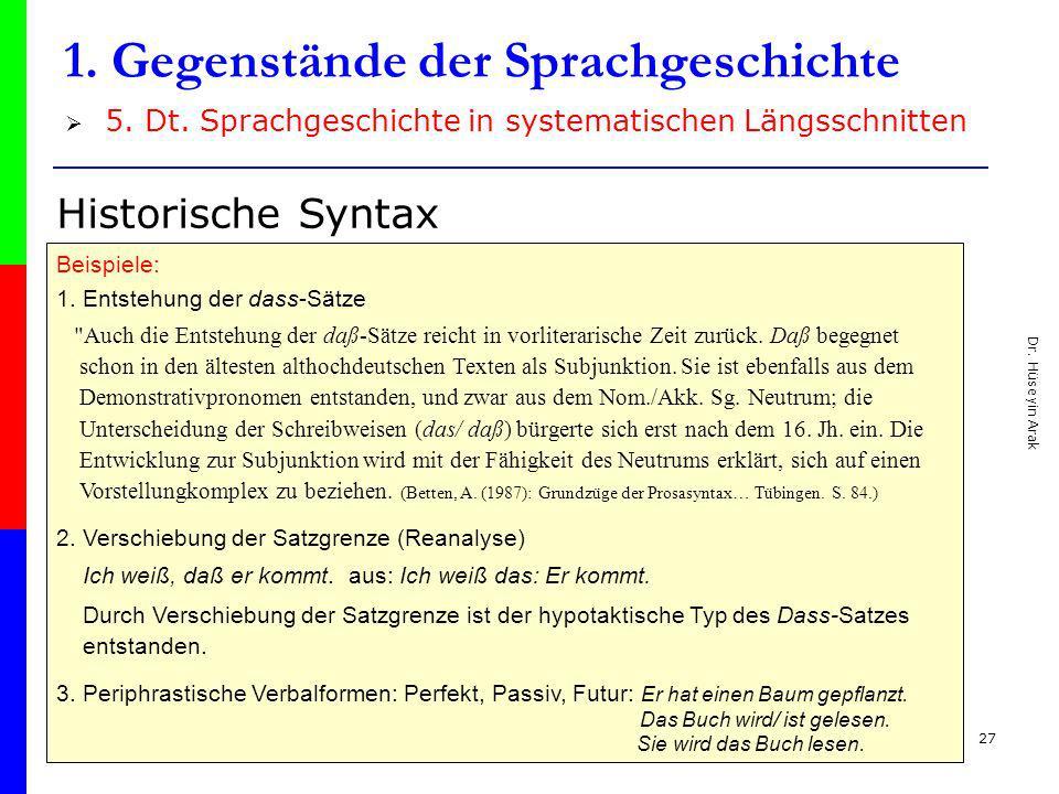 Dr. Hüseyin Arak 27 1. Gegenstände der Sprachgeschichte 5. Dt. Sprachgeschichte in systematischen Längsschnitten Historische Syntax Beispiele: 1. Ents