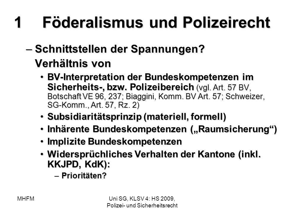 MHFMUni SG, KLSV 4: HS 2009, Polizei- und Sicherheitsrecht 1Föderalismus und Polizeirecht –Schnittstellen der Spannungen? Verhältnis von BV-Interpreta