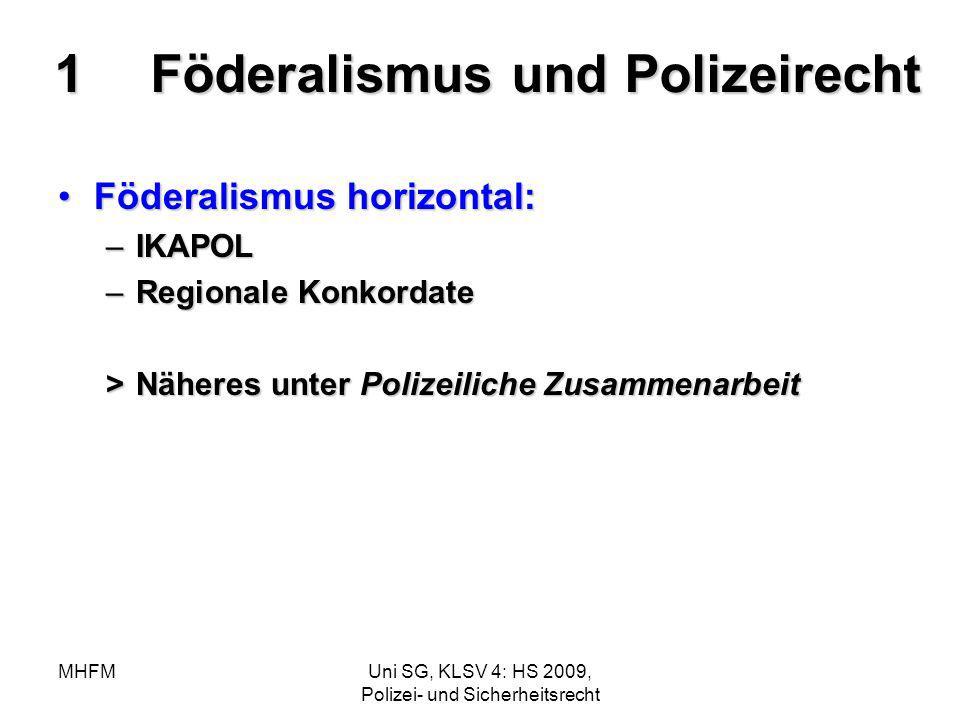 MHFMUni SG, KLSV 4: HS 2009, Polizei- und Sicherheitsrecht 1Föderalismus und Polizeirecht Föderalismus horizontal:Föderalismus horizontal: –IKAPOL –Re