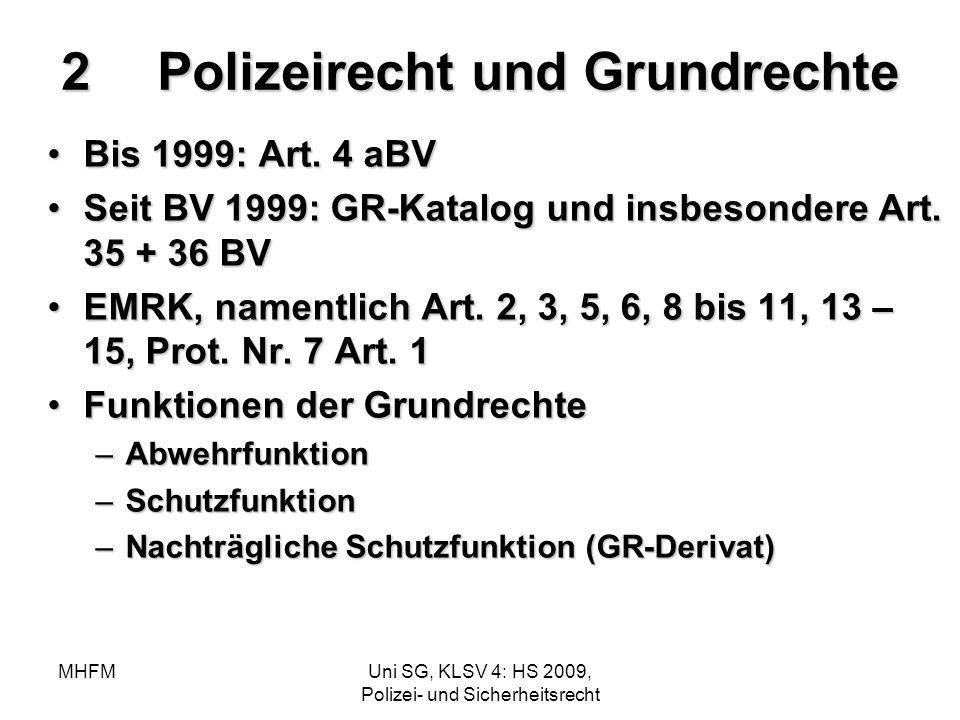 MHFMUni SG, KLSV 4: HS 2009, Polizei- und Sicherheitsrecht 2Polizeirecht und Grundrechte Bis 1999: Art. 4 aBVBis 1999: Art. 4 aBV Seit BV 1999: GR-Kat