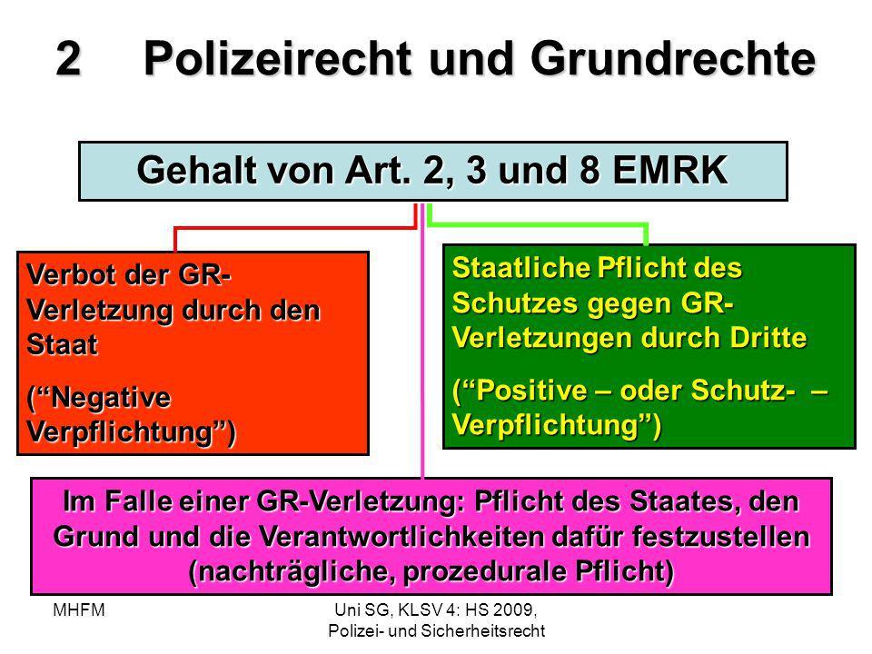 MHFMUni SG, KLSV 4: HS 2009, Polizei- und Sicherheitsrecht 2Polizeirecht und Grundrechte Gehalt von Art. 2, 3 und 8 EMRK Verbot der GR- Verletzung dur