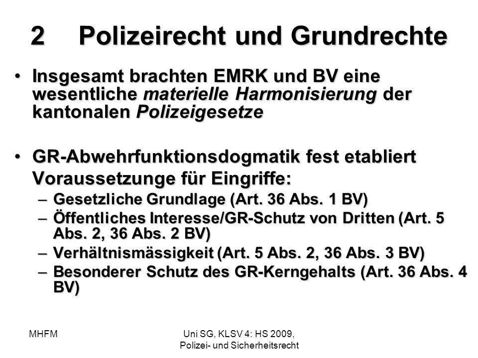 MHFMUni SG, KLSV 4: HS 2009, Polizei- und Sicherheitsrecht 2Polizeirecht und Grundrechte Insgesamt brachten EMRK und BV eine wesentliche materielle Ha