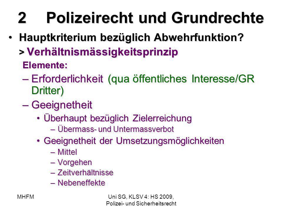 MHFMUni SG, KLSV 4: HS 2009, Polizei- und Sicherheitsrecht 2Polizeirecht und Grundrechte Hauptkriterium bezüglich Abwehrfunktion? > Verhältnismässigke