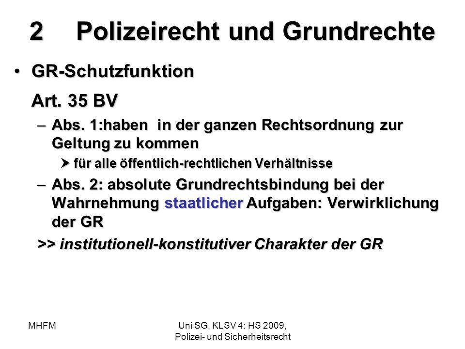 MHFMUni SG, KLSV 4: HS 2009, Polizei- und Sicherheitsrecht 2Polizeirecht und Grundrechte GR-SchutzfunktionGR-Schutzfunktion Art. 35 BV –Abs. 1:haben i