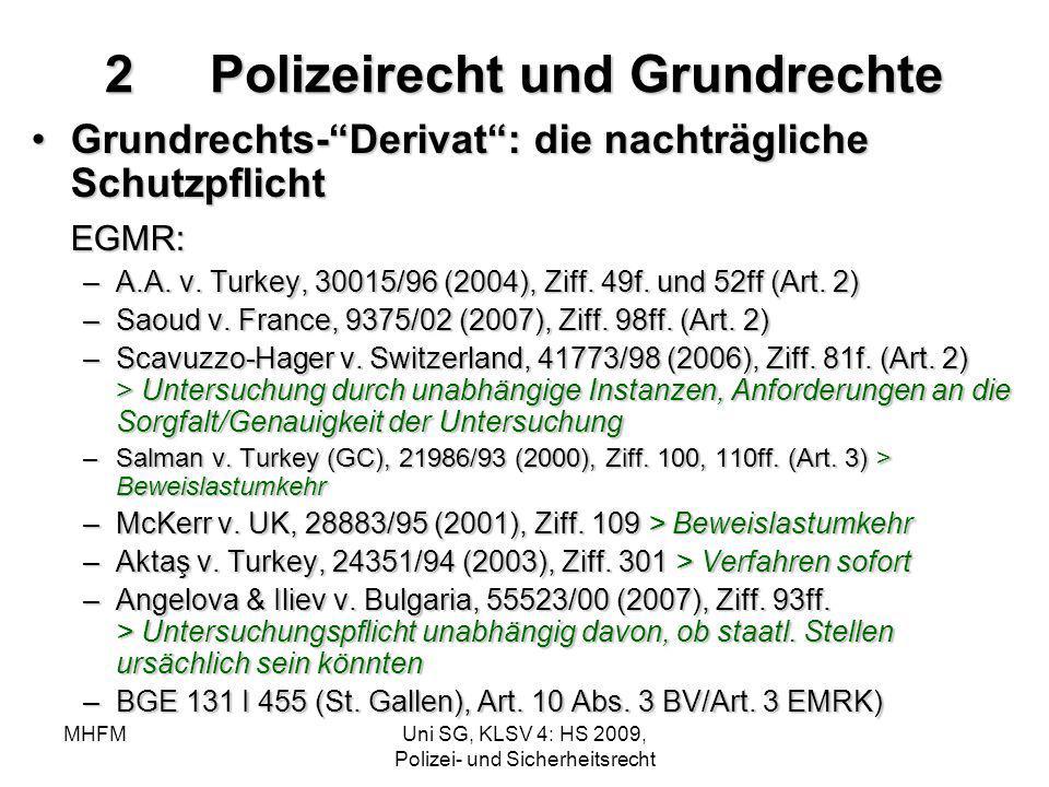 MHFMUni SG, KLSV 4: HS 2009, Polizei- und Sicherheitsrecht 2Polizeirecht und Grundrechte Grundrechts-Derivat: die nachträgliche SchutzpflichtGrundrech