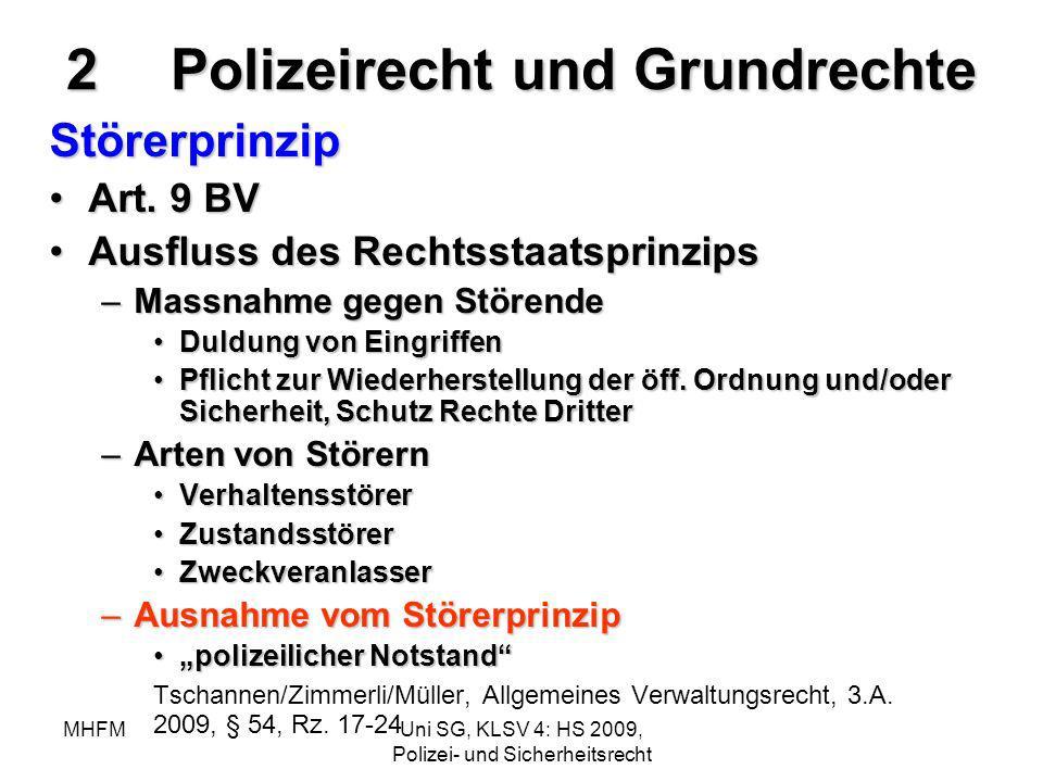 MHFMUni SG, KLSV 4: HS 2009, Polizei- und Sicherheitsrecht 2Polizeirecht und Grundrechte Störerprinzip Art. 9 BVArt. 9 BV Ausfluss des Rechtsstaatspri
