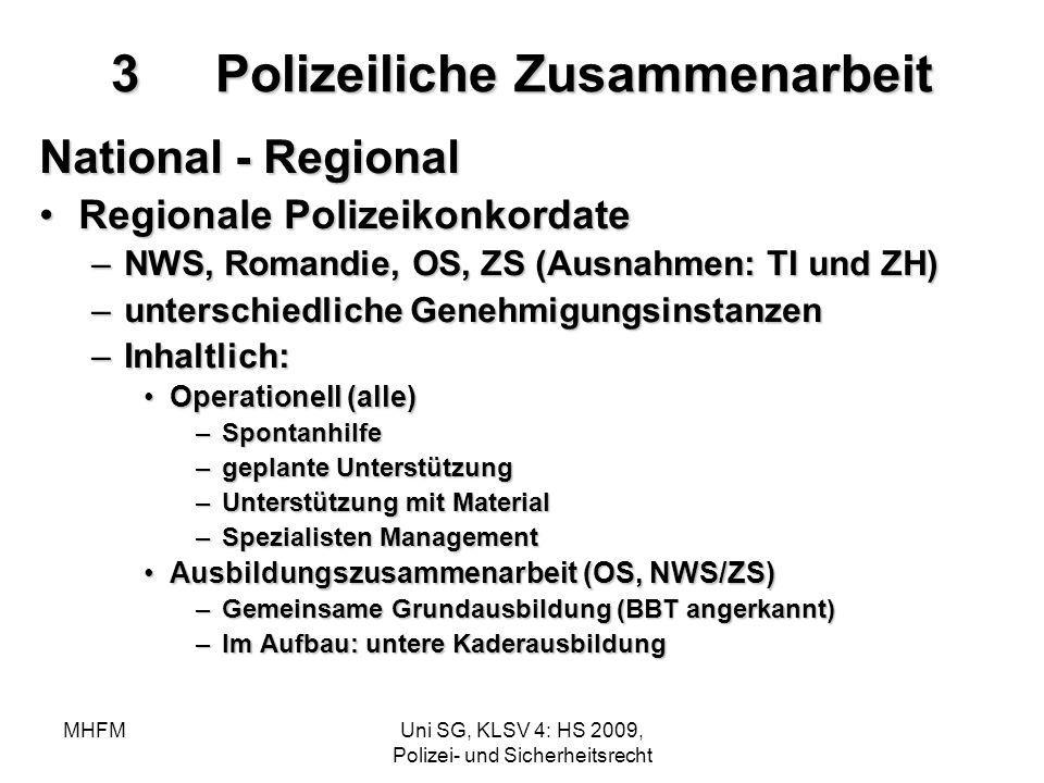 MHFMUni SG, KLSV 4: HS 2009, Polizei- und Sicherheitsrecht 3Polizeiliche Zusammenarbeit National - Regional Regionale PolizeikonkordateRegionale Poliz