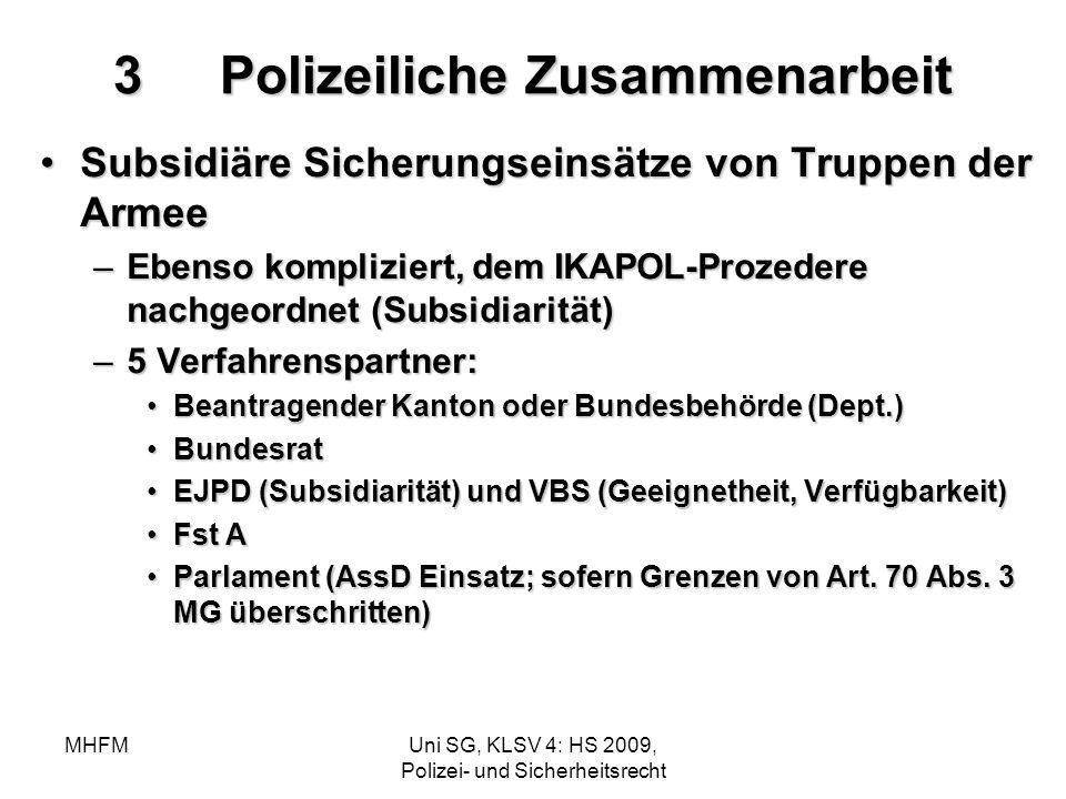 MHFMUni SG, KLSV 4: HS 2009, Polizei- und Sicherheitsrecht 3Polizeiliche Zusammenarbeit Subsidiäre Sicherungseinsätze von Truppen der ArmeeSubsidiäre