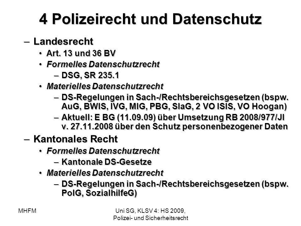 MHFMUni SG, KLSV 4: HS 2009, Polizei- und Sicherheitsrecht 4 Polizeirecht und Datenschutz –Landesrecht Art. 13 und 36 BVArt. 13 und 36 BV Formelles Da