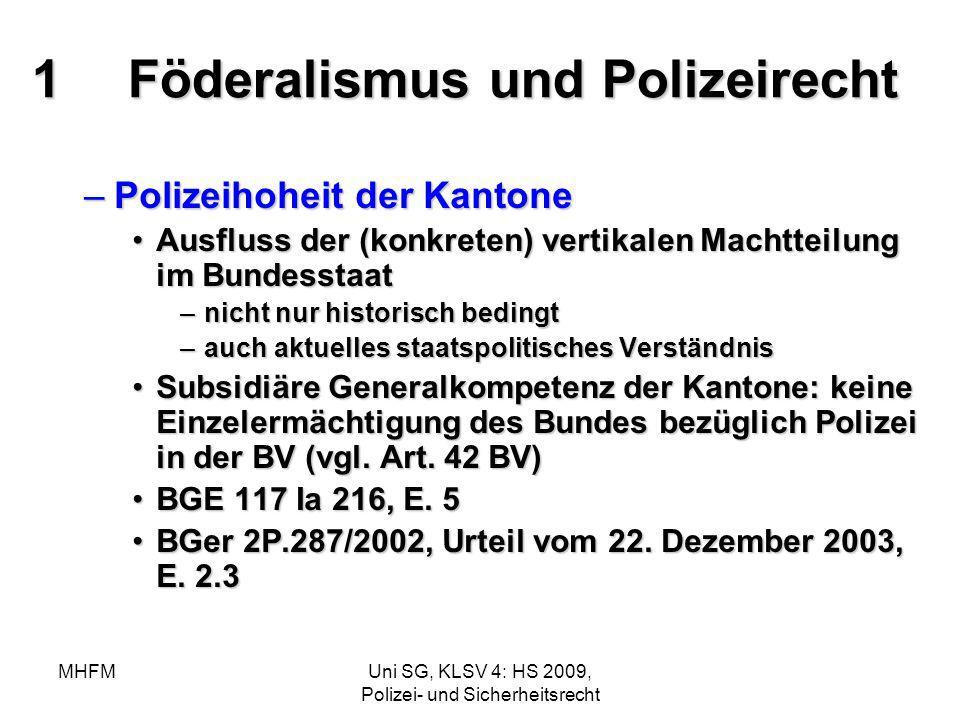 MHFMUni SG, KLSV 4: HS 2009, Polizei- und Sicherheitsrecht 1Föderalismus und Polizeirecht –Polizeihoheit der Kantone Ausfluss der (konkreten) vertikal