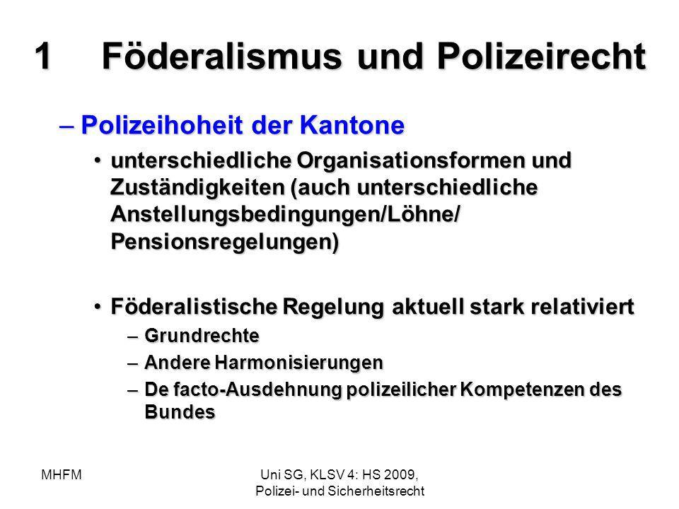 MHFMUni SG, KLSV 4: HS 2009, Polizei- und Sicherheitsrecht 1Föderalismus und Polizeirecht –Polizeihoheit der Kantone unterschiedliche Organisationsfor