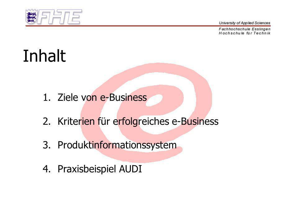 Ziele von e-Business 1.Kostenreduktion 2.verbesserte Kundenzufriedenheit 3.Markterweiterung 4.Marktdurchdringung