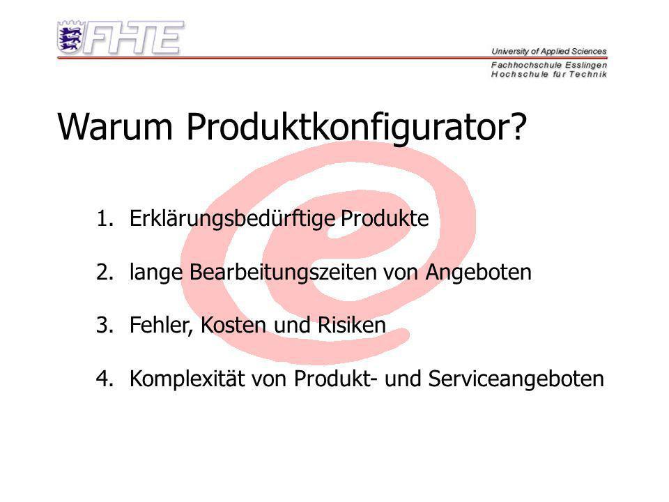Warum Produktkonfigurator? 1.Erklärungsbedürftige Produkte 2.lange Bearbeitungszeiten von Angeboten 3.Fehler, Kosten und Risiken 4.Komplexität von Pro