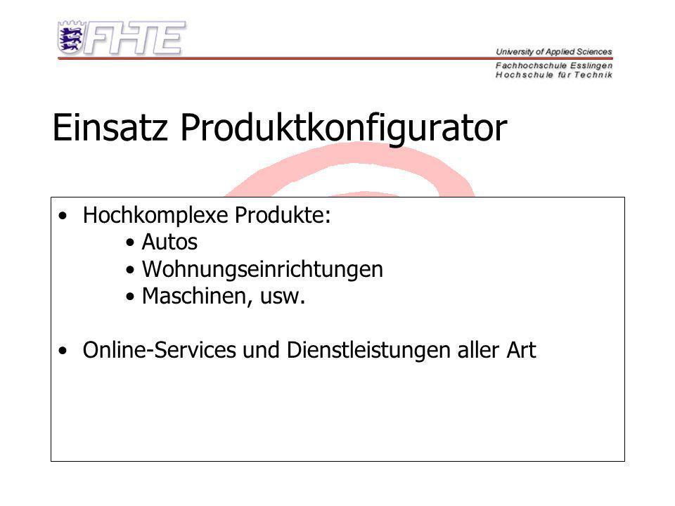 Einsatz Produktkonfigurator Hochkomplexe Produkte: Autos Wohnungseinrichtungen Maschinen, usw. Online-Services und Dienstleistungen aller Art