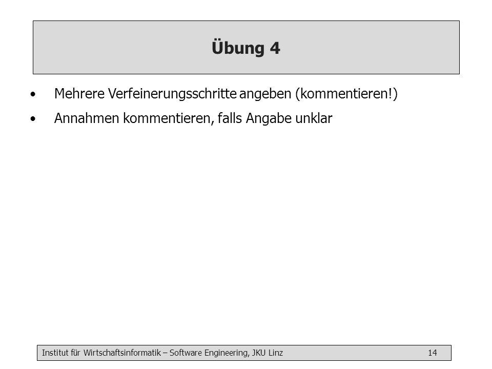 Institut für Wirtschaftsinformatik – Software Engineering, JKU Linz 14 Übung 4 Mehrere Verfeinerungsschritte angeben (kommentieren!) Annahmen kommentieren, falls Angabe unklar