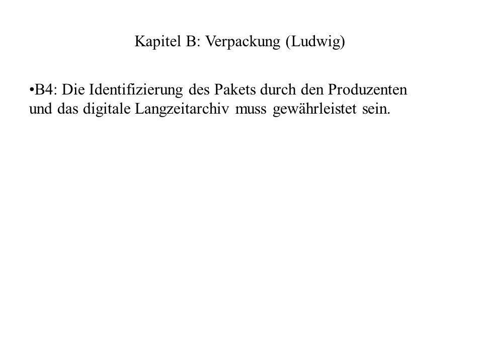 B4: Die Identifizierung des Pakets durch den Produzenten und das digitale Langzeitarchiv muss gewährleistet sein.