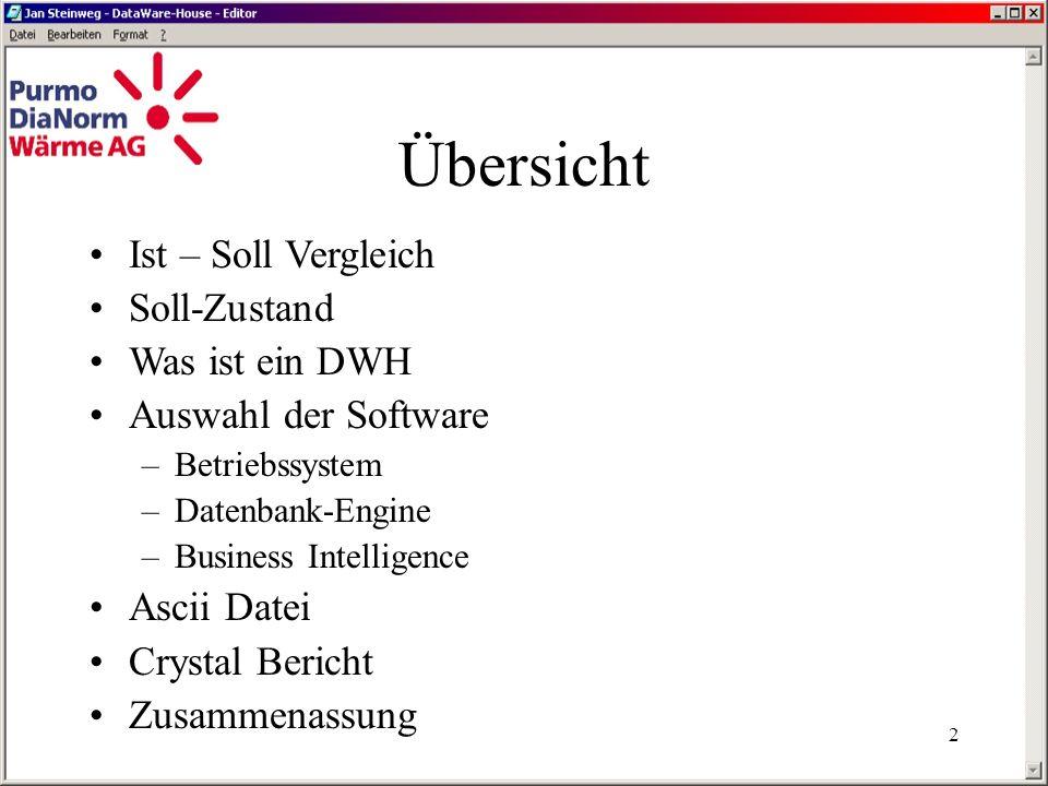 1 von und mit Jan Steinweg Einrichtung eines Data- Warehouse Servers