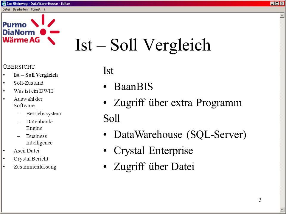 2 Übersicht Ist – Soll Vergleich Soll-Zustand Was ist ein DWH Auswahl der Software –Betriebssystem –Datenbank-Engine –Business Intelligence Ascii Datei Crystal Bericht Zusammenassung