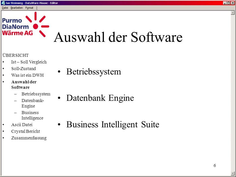 5 Was ist ein DWH ÜBERSICHT Ist – Soll Vergleich Soll-Zustand Was ist ein DWH Auswahl der Software –Betriebssystem –Datenbank- Engine –Business Intelligence Ascii Datei Crystal Bericht Zusammenfassung