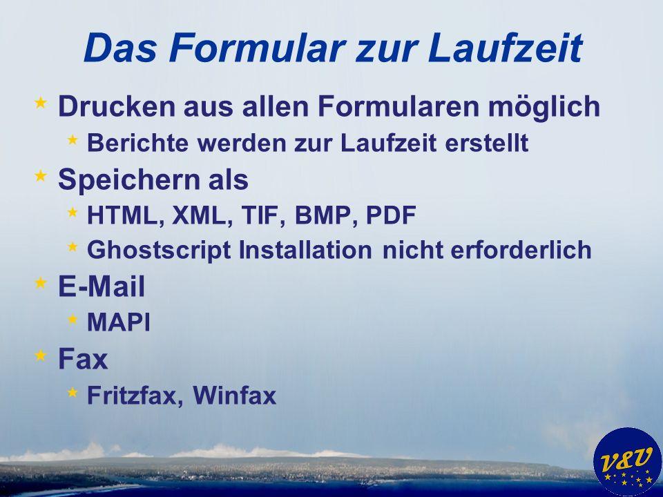 Das Formular zur Laufzeit * Drucken aus allen Formularen möglich * Berichte werden zur Laufzeit erstellt * Speichern als * HTML, XML, TIF, BMP, PDF * Ghostscript Installation nicht erforderlich * E-Mail * MAPI * Fax * Fritzfax, Winfax