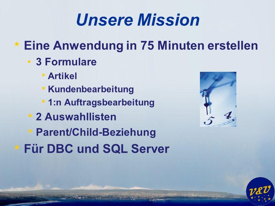 Unsere Mission * Eine Anwendung in 75 Minuten erstellen 3 Formulare * Artikel * Kundenbearbeitung * 1:n Auftragsbearbeitung * 2 Auswahllisten * Parent/Child-Beziehung * Für DBC und SQL Server