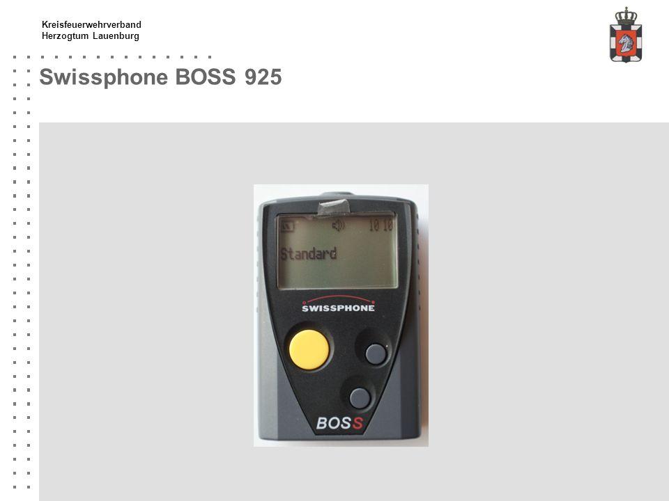 Kreisfeuerwehrverband Herzogtum Lauenburg Swissphone BOSS 925 Wichtige Hinweise Nur Nickel-Metall-Hydrid-Akkus (NiMH) verwenden DME ist softwareseitig passwortgeschützt, nach drei falschen Eingaben wird er gelöscht.