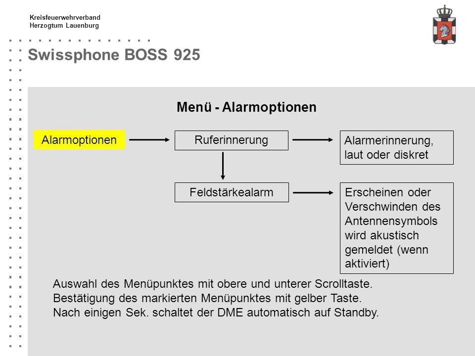Kreisfeuerwehrverband Herzogtum Lauenburg Swissphone BOSS 925 Menü - Alarmoptionen Ruferinnerung Alarmoptionen Feldstärkealarm Auswahl des Menüpunktes
