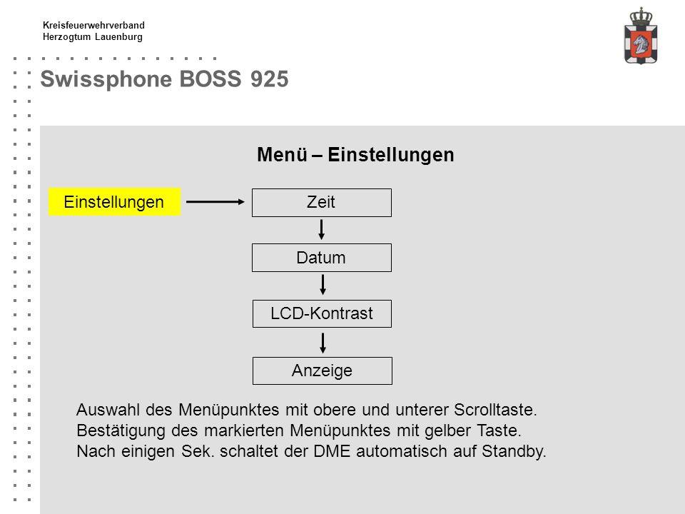 Kreisfeuerwehrverband Herzogtum Lauenburg Swissphone BOSS 925 Menü – Einstellungen Zeit Einstellungen Datum LCD-Kontrast Auswahl des Menüpunktes mit o