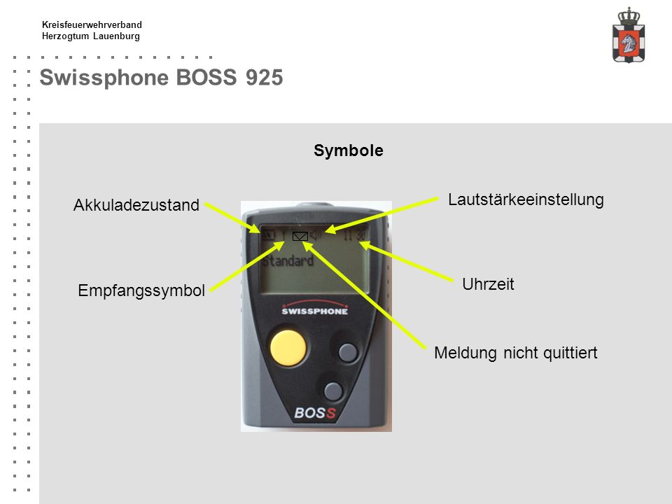 Kreisfeuerwehrverband Herzogtum Lauenburg Swissphone BOSS 925 Meldung / Alarm quittieren Meldungssymbol Mit gelbem Knopf den Text der Meldung nach unten scrollen bis Meldung vollständig gelesen ist.