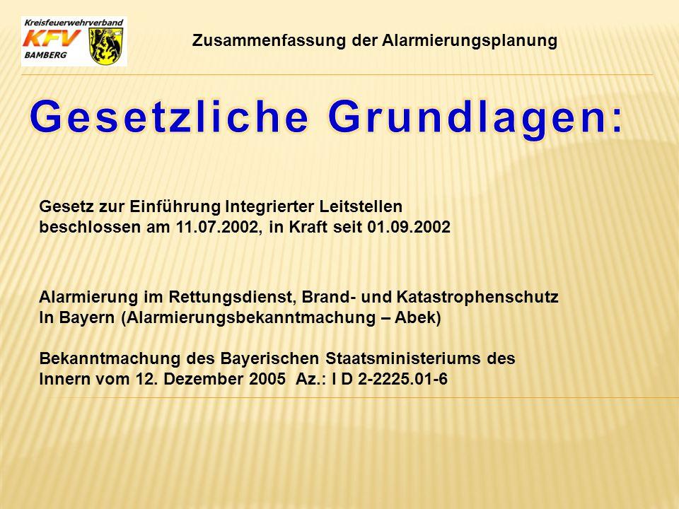 Gesetz zur Einführung Integrierter Leitstellen beschlossen am 11.07.2002, in Kraft seit 01.09.2002 Alarmierung im Rettungsdienst, Brand- und Katastrop