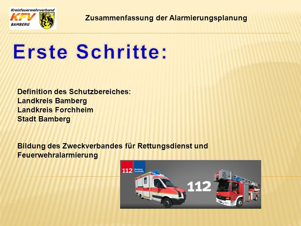 Zusammenfassung der Alarmierungsplanung Definition des Schutzbereiches: Landkreis Bamberg Landkreis Forchheim Stadt Bamberg Bildung des Zweckverbandes
